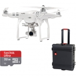 dji phantom 3 advanced with 2.7k camera bundle with wheeled hard case and sd card