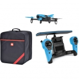 parrot bebop drone quadcopter with skycontroller and soft case bundle (blue)