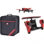 parrot bebop drone quadcopter with skycontroller and soft case bundle (red)